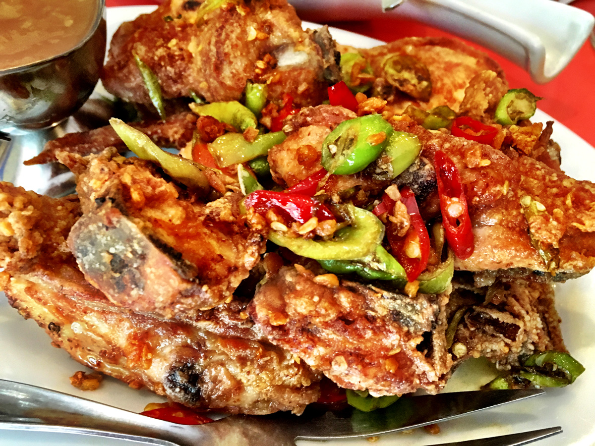 Spicy garlic fried chicken.